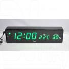 VST 805-S-4 часы настенные с датой и термометром с ярко-зелеными цифрами