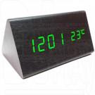 VST-861-4 часы настольные в деревянном корпусе (черный корпус, зеленые цифры)