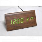 VST-861-4 часы настольные в деревянном корпусе (коричневый корпус, зеленые цифры)