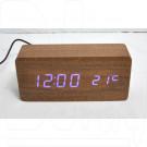 VST-862-5 часы настольные в деревянном корпусе (коричневый корпус, синие цифры)