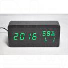 VST-862S-4 часы настольные в деревянном корпусе с датчиком влажности с зелеными цифрами