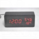 VST-862S-1 часы настольные в деревянном корпусе с датчиком влажности с красными цифрами