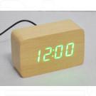 VST-863-4 часы настольные в деревянном корпусе (желтый корпус, зеленые цифры)