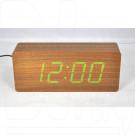 VST-865-4 часы настольные в деревянном корпусе (коричневый корпус, зеленые цифры)