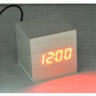 VST-869-1 часы настольные в деревянном корпусе (белый корпус, красные цифры)