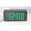 VST-871-4 часы настольные в деревянном корпусе (черный корпус, зеленые цифры)