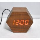 VST-876-1 часы настольные в деревянном корпусе (коричневый корпус, красные цифры)