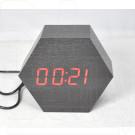 VST-876-1 часы настольные в деревянном корпусе (черный корпус, красные цифры)