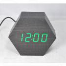 VST-876-4 часы настольные в деревянном корпусе (черный корпус, зеленые цифры)