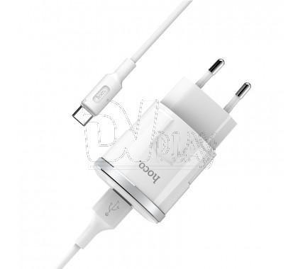 Зарядное устройство USB 2.4A Hoco. C37A + кабель Type-C
