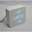 VST-872-S-5 часы настольные в деревянном корпусе с датчиком влажности с синими цифрами