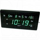 VST 795-W-4 часы настенные с датой и термометром с ярко-зелеными цифрами