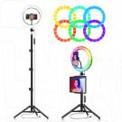 Кольцевая светодиодная селфи лампа RGB разноцветная 26 см со штативом 210 см