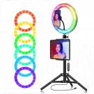 Кольцевая светодиодная селфи лампа RGB разноцветная 36 см
